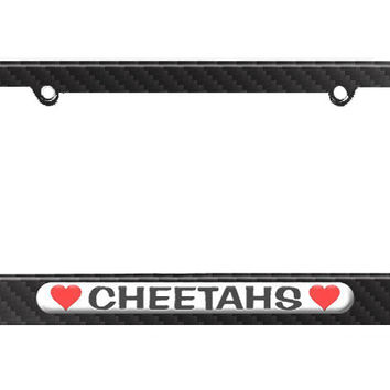 Cheetahs Love with Hearts License Plate Tag Frame - Carbon Fiber Patterned Finish