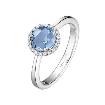 Lafonn Birthstone Sterling Silver Platinum Plated Lassire MARCH Ring (1.05 cttw)