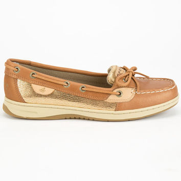 Sperry Top-Sider Angelfish Metallic Slip-On Womens Boat Shoes Linen/Gold  In Sizes