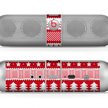 The Red and White Christmas Pattern Skin for the Beats by Dre Pill Bluetooth Speaker