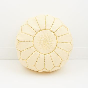 Moroccan Leather Pouf, Vanilla