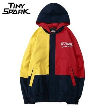 Color Block Hooded Jackets Hip Hop Loose Street wear Patchwork Over sized Track Hoodies Jacket Coat Casual Full Zipper
