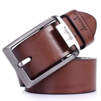 New Men's Waistband Casual Dress Leather Pin Metal Buckle Belt Black Brown Strap