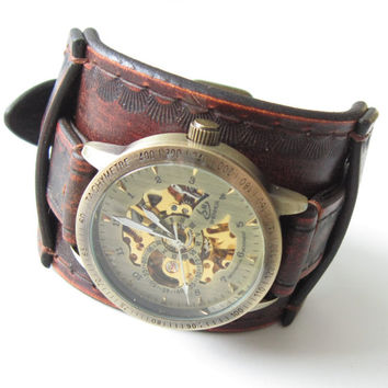 Mens Watch, Wrist Watch Leather- Gifts for Men, Leather Wrist Watch, Custom Leather Watch Cuff
