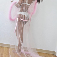 Giselle Baby Pink Sheer Robe with fur trim, satin ribbon ties. High quality lingerie