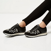 Black floral embellished sneakers - plimsolls / sneakers - shoes / boots - women