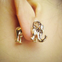 3D elephant earrings