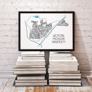Western Michigan University WMU Main Campus Typography Map Broncos Wall Decor, Graduation Gift WMU Map