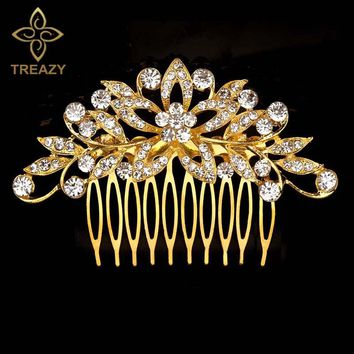 TREAZY Gold Color Leaf Flower Wedding Tiara Bridal Hair Combs Hairpins Diamante Crystal Women Engagement Party Hair Accessories