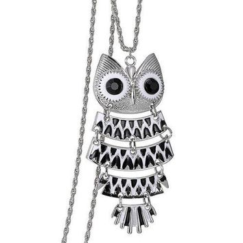Alloy Owl Glaze Pendant Sweater Chain - Black