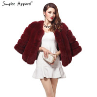 Simplee Apparel fox fur & faux fur coats for women Autumn winter fashion fluffy female warm outwear Thick hair furry jacket coat
