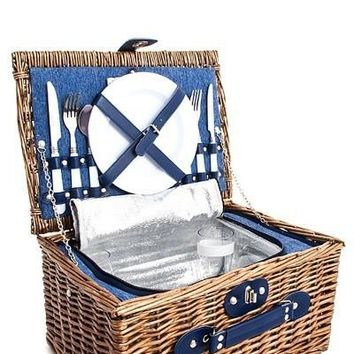 High Quality Straw Woven Picnic Bag with 2 People Utensils