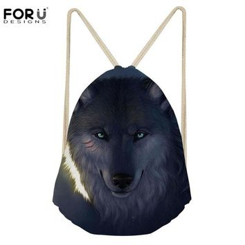 Cool Backpack school FORUDESIGNS Sport Bag Men for Gym Drawstring Backpack Cool Wolf Printing Fitness Running Athletic Training Bags Storage Softback AT_52_3