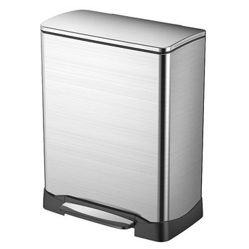 EKO Stainless Steel 13-Gallon Rectangular Neo-Cube Step Trash Can (Silver)