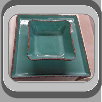 hand formed stoneware clay square dinner plates and  square bowls, single place settings availableavailable
