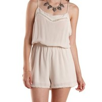 Natural Crochet-Trim Strappy Romper by Charlotte Russe