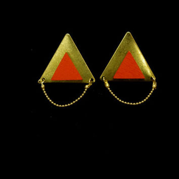 Geometric earrings -Triangle Geometric Earrings / Studs - Laser Cut Wood Metal Geometric Jewellery - Small colorful statement earrings