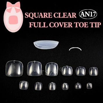 1bag/lot 500PCS Clear Round Nail Tips Full Cover Acrylic UV Gel False Toe nails
