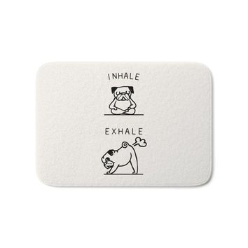 Inhale Exhale Pug Bath Mat  Entry Front Door Mats Outdoor Entrance Indoor Home Funny
