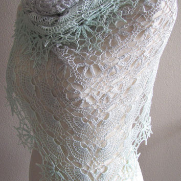 Gradient Pale Gray/Silver To Pale Emerald Shawl Lace Crochet Hand Dyed Extrafine Merino Wool  Mulberry Silk Wrap Scarf Handmade Lightweight