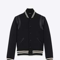 Saint Laurent Classic Teddy Jacket In Black Wool Gabardine And Leather | ysl.com
