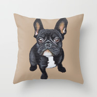 French Bulldog Throw Pillow by PaperTigress