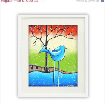 Giclee Print Nursery Art Decor - Blue Bird Kids Print - Whimsical Folk Art Children Wall Art - Lime Green Red Blue 8x10 Signed