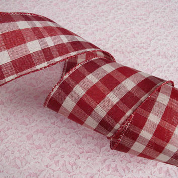 """Red and Cream Plaid Ribbon, 2 1/2"""" Wide, Wired, Christmas Ribbon, Baskets, Bows, Wreaths, Home Decor, Rustic Ribbon Decorations, 5 YARDS"""