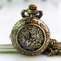 1PC Antique Bronze Pocket Watch Necklace Chain Pendant Long !ONS [6057589889]
