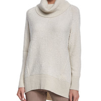 Cowl-Neck Wool Sweater, Size: