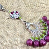 Raspberry Lime Stitch Markers & Flower Knitting Bag Lanyard Holder
