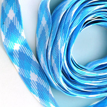 Vintage Sewing Trim Blues and White 1970s Unused Sewing Notions Light Stretch Nine (9) Yards+ New Old Stock