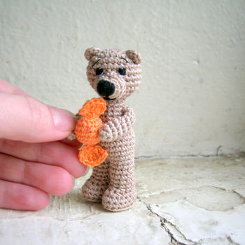 Miniature bear with candy, tiny crochet miniature bear, artist bear, stuffed bear, soft small toy, collectible toy, miniature animal
