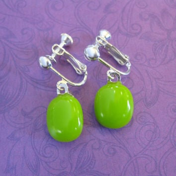 Lime Green Clip Earrings, Dangle Clip On Earings, Non Pierce Earrings, Fashion Jewelry - Reeve - 2162 -1