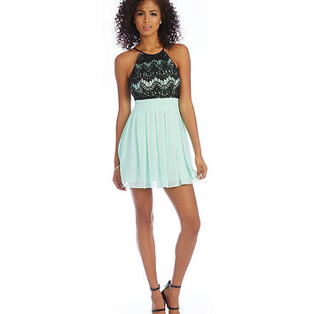 B. Darlin CK Neckline Lace to Chiffon Dress | Dillards