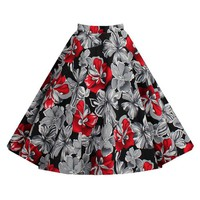 Stylish High-Waisted Floral Print A-Line Skirt For Women