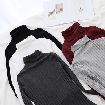 Basic Cotton Turtleneck Tops Tees Women Long Sleeve T Shirts Ribbed Layering Shirts Solid Colors