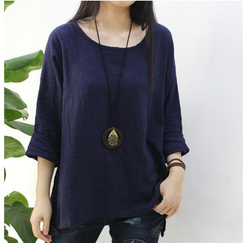 2017 autumn winter new original design simple retro bamboo linen style  t shirt women cotton girl
