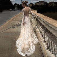 Sexy V Neck Boho Backless Lace Beach Wedding Dress Long Sleeve