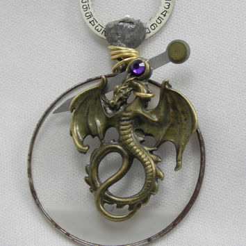 Steampunk Necklace  Dragon Recycled Optical Lens with Amethyst Swarovski