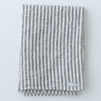 Fog Linen Work Bath Towel Navy Stripe