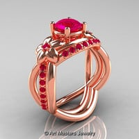 Nature Inspired 14K Rose Gold 1.0 Ct Rose Ruby Leaf and Vine Wedding Ring Set R180S-14KRGRR