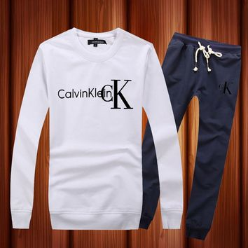 CALVIN KLEIN Woman Men Long Sleeve Shirt Top Tee Pants Trousers Set Two-Piece Sportswear
