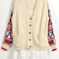 Vintage Style Cardigan with Tribe Pattern Sleeves Beige R432 from topsales