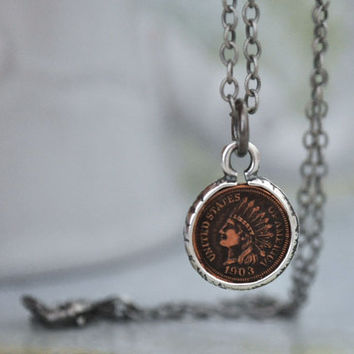 antiqued sterling silver necklace LUCKY PENNY petite Indian head one cent coin charm