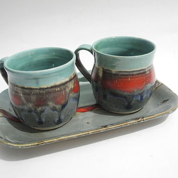 Pottery Mug, Coffee Cup, Tea Mug, Handmade Ceramic Tea Cup, in Grey, Turquoise and Red