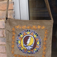 Grateful Dead SYF Corduroy Messenger Bag Purse Hippie Deadhead Flap Bag