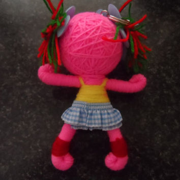 String doll keychain - punk chic voodoo doll handmade string doll keyring - Goth collectible - girl's dolls pink doll woollen