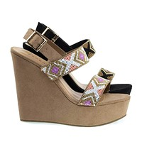 Charade65 By Bamboo, Platform Wedge Sandal w Festive Tribal Beaded Strap w Faux Suede