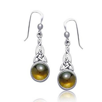Celtic Knots Round Amber Dangle Drop Earrings 925 Sterling Silver